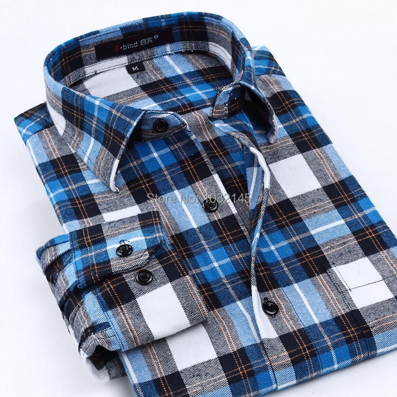 Spring autumn men warm casual shirt retro vintage long for Mens warm flannel shirts