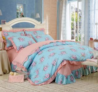 free shipping 100% piece cotton bedding set rustic princess 100% cotton four piece bedding set