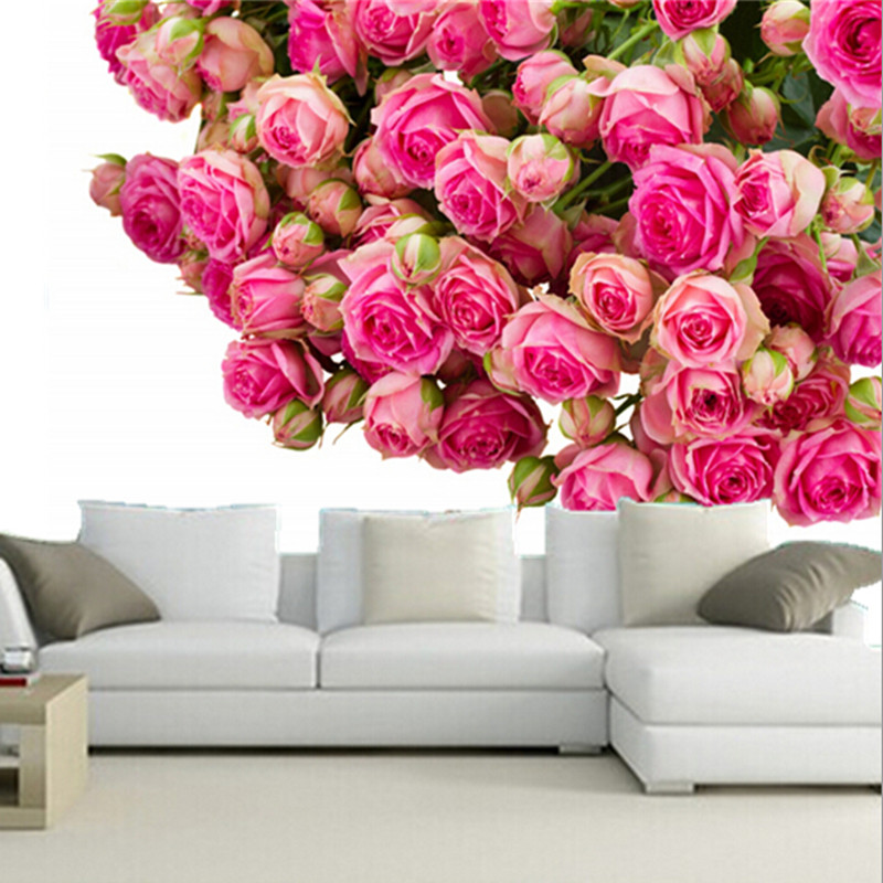 The custom 3d murals 3d roses many pink color flowers wallpapers papel de parede living room for Flower wallpaper for living room