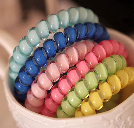Vegaswig Free Shipping Candy-colored Telephone Wire 2015 Women Headdress Head Accessories Hair Ring Hair Rope 12 Colors(China (Mainland))