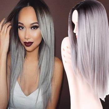 "Grey Ombre Wig False Hair Synthetic Wigs for Black Women 26"" Long Straight Natural Cheap Hair  jenner Gray Wig Female Hair"
