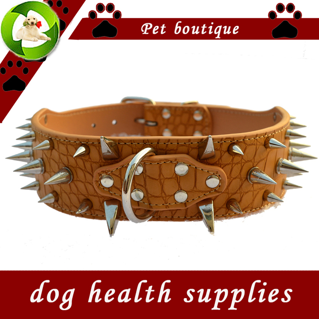 Fashion Spiked Pet Dog-Collar 2 Inch Wide Croc Leather Collars For Dogs Pitbulls Medium Size Necklace Large Dog Health Supplies