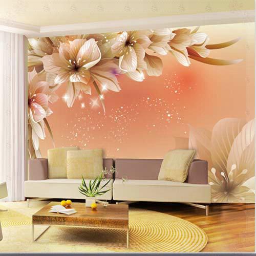 Gran pared 3d murales foto flor de papel tapiz para sala for Papel pared personalizado foto