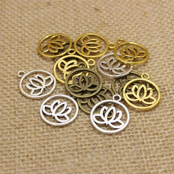 (50 pieces/lot) 20*24mm Antique three color Metal Alloy Lotus Flower Charms Jewelry Making Charms T0207