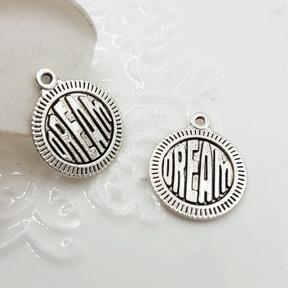 "10pcs/lot 15mm Antique Silver plated Pewter Jewelry charm with words ""OREAM"" for DIY jewelry(China (Mainland))"