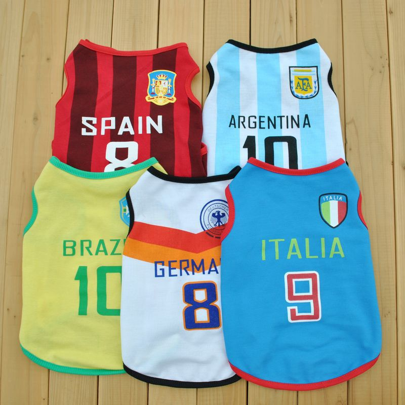 Factory direct hot models 2015 World Cup Soccer pet vest summer hand sources(China (Mainland))