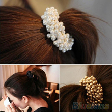 Fashion Women Pearls Beads Hair Band Rope Scrunchie Ponytail Holder  2MOD 2O31(China (Mainland))