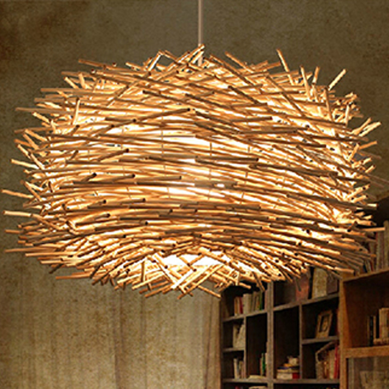 Wood pendant light industrial lamps vintage luminaire for Suspension luminaire 3 lampes