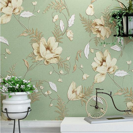 Mediterranean american pastoral flower design non woven for Wallpaper home vintage