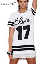 Summerhu 2015 Hot Brand Shirt Dresses Women Casual Vestidos High Street White Short Sleeve Letters Print Striped Dress S-XL(China (Mainland))
