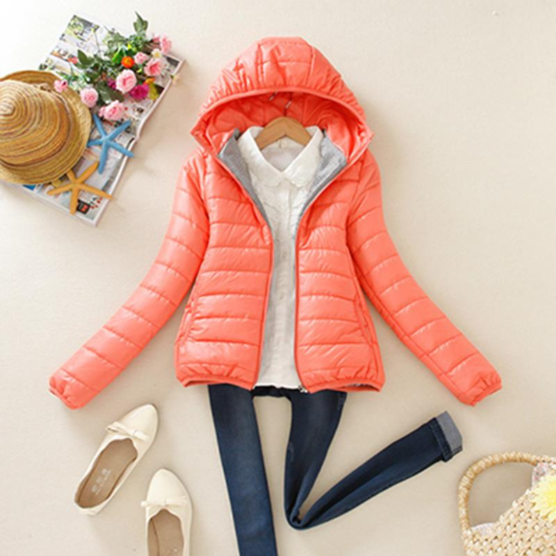 Winter Slim Candy-colored Hooded Padded Jacket Female Warm Winter Coat Parkas Ultra Light Down Cotton Overcoat dames jassen(China (Mainland))