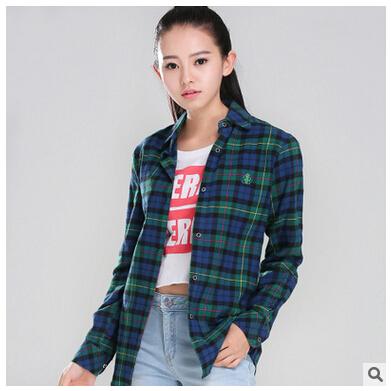 Plaid Shirt Female Plus Size Slim Long Sleeve Cotton Material New Fashion Factory Outlets Blusen 2016 Women Shirt GA0310(China (Mainland))
