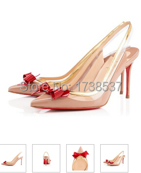 Original brand sexy Red bottom sling high heels pointed toe bow ...