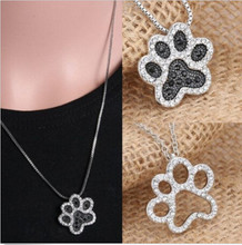 Buy Footprint Dog Paw Crystal Rhinestone New Fashion Silver Necklace Pendant Jewellery for $1.03 in AliExpress store