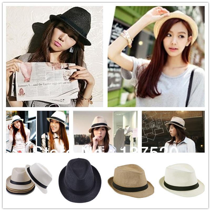 Fashion Womens Mens Unisex Fedora Trilby Gangster Cap Summer Beach Sun Straw Panama Hat Couples Lovers Hat(China (Mainland))