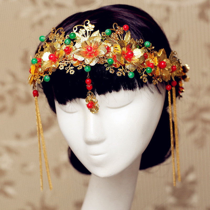 Red Rhinestone Crystal Metal Hollow Flower Handmade Hair bands Beads Accessories Bridal Hairpin Chinese Wedding Hair Accessories(China (Mainland))