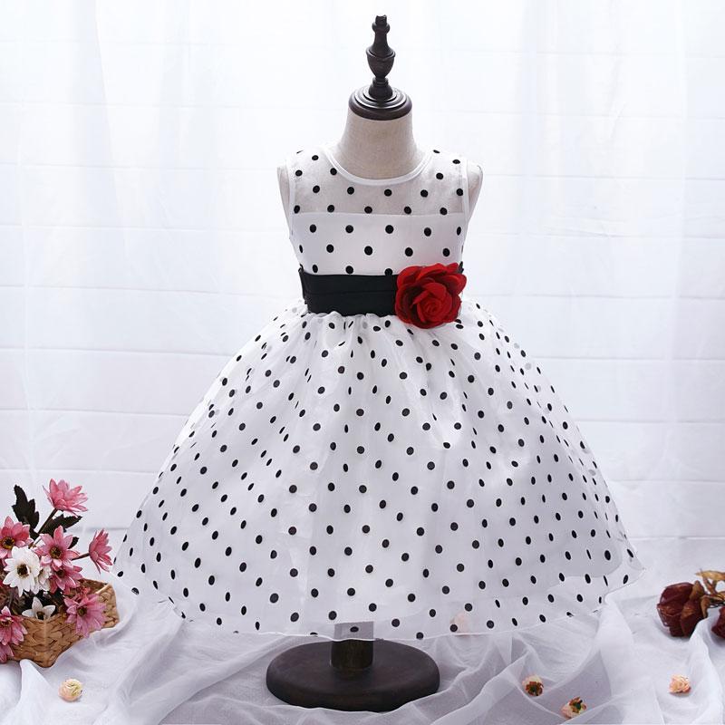New Arrival 2017 Princess Summer Girl Dress Classic White Black Polka Dots Children Dancing Dresses For Little Girl Tutu Dresses(China (Mainland))