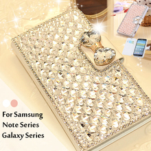 Bling Crystal Flip Rhinestone Phone Case For Samsung Galaxy Note 4 3 2 S4 S5 S3 S6 S6 S7 Edge Luxury Diamond Bag Case Cover Coqu(China (Mainland))