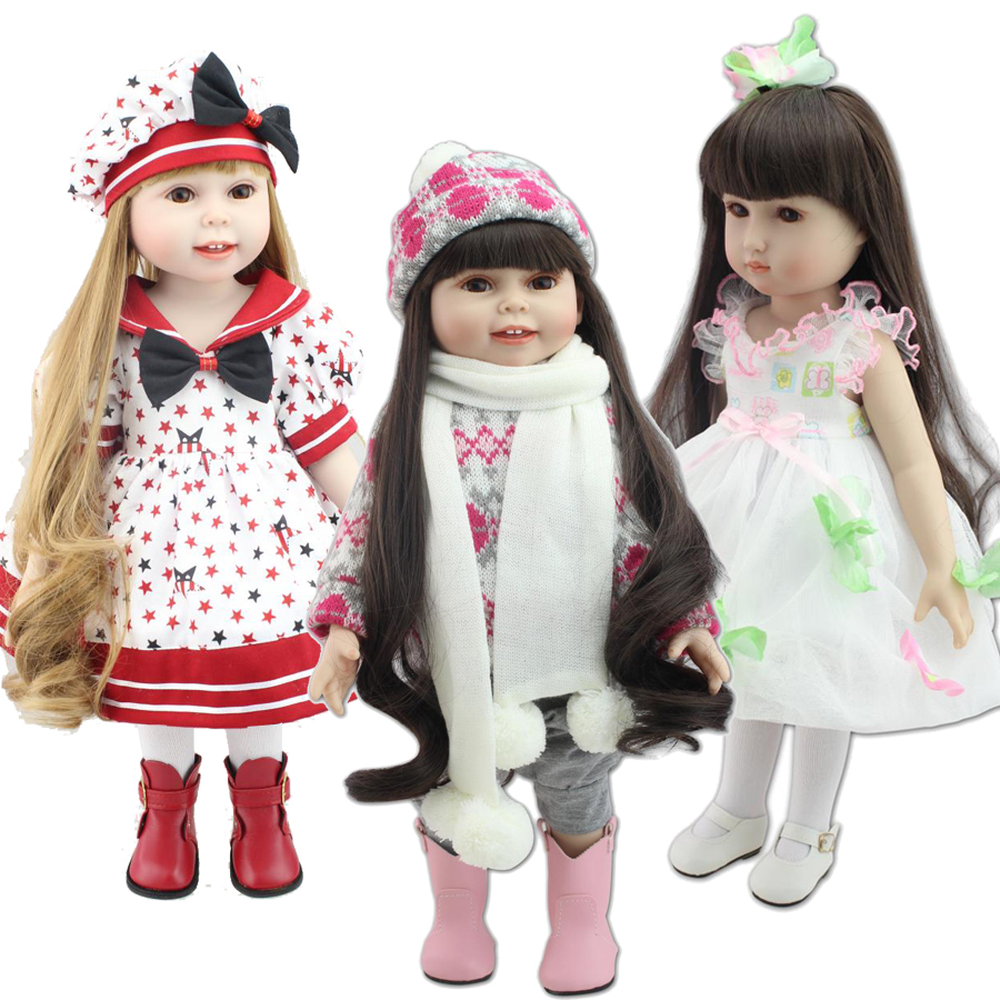2015 NEW 25 Models 18 Blonde/Brown Hair 45cm Girl Doll Realistic Baby Toys Birthday Gift  for Girls  As American Girl Dolls<br><br>Aliexpress