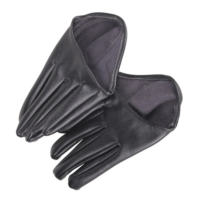 New Hot Woman Tight Half Palm Gloves Imitation Leather Five Finger  Soft  PU Leather Gloves for Women Black C#RT(China (Mainland))