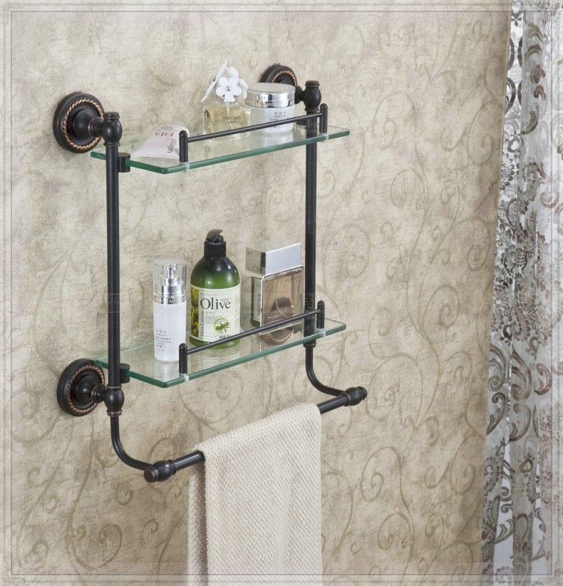 double tier bathroom glass shelf wall mount costmetic. Black Bedroom Furniture Sets. Home Design Ideas