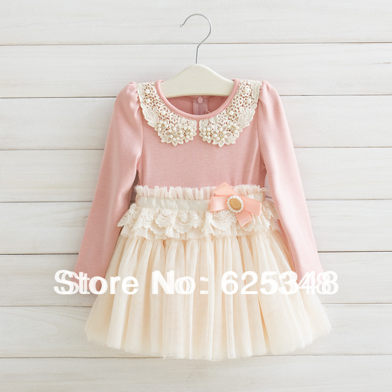Wholesale - 4pcs/lot Fashion Autumn New Arrival Baby Girl Dresses  Pink Pearl Children Lace Dress Princess Kids clothing<br><br>Aliexpress