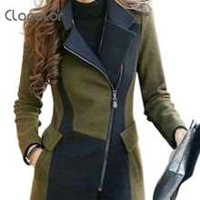Clocolor Slim Wool Coat Female Army Green Turn Down Collar Zipper Up Patchwork Women Jacket Autumn Winter Wool Coat Female(China (Mainland))