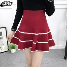 Buy Wine Red Knit Skirt Womens High Waist Knit Pleated Skirts Women Autumn Elegant Warm Umbrella Mini Skirts Winter 2016 Fashion for $14.97 in AliExpress store