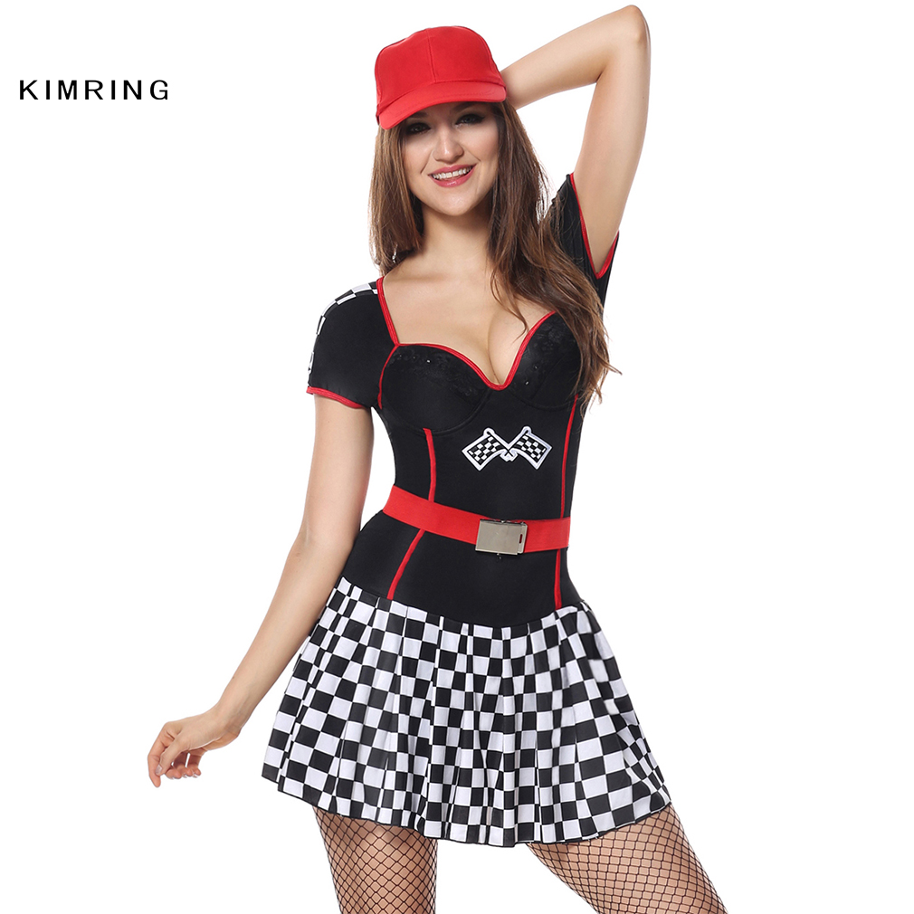 Kimring Sexy Racer Car Halloween Costume Adult Women Speed Racer Clubwear Fantasy Costume Cosplay Fancy Dress(China (Mainland))