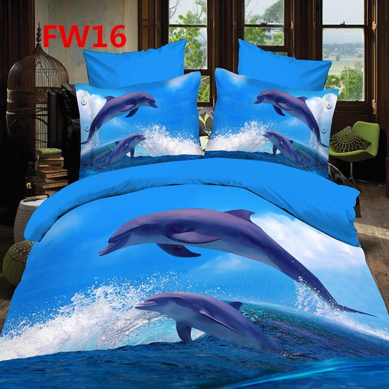 Fast Shipping 3D Bedding Set Christmas Gift queen bed sheets 4pcs dolphin Blue duvet Cover and Flat Sheet and pillowcases(China (Mainland))