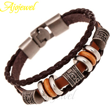 Ajojewel New Design Fashion Vintage Men Jewelry Metal Beads Brown Leather Bracelets Bangles(China (Mainland))