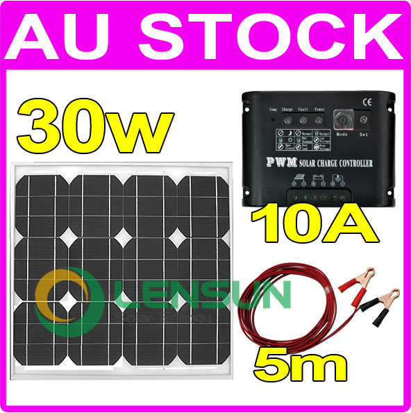 30W 12V Mono solar panel full kit, 10A regulator,5m cable, AU stock,Factory directly wholesale,fast ship