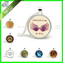 Harry Potter Pendant Necklace Luna Lovegood Platform 9 3/4 Hogwarts Expecto Patronum Pendant  jewelry Silver Chains Necklace(China (Mainland))