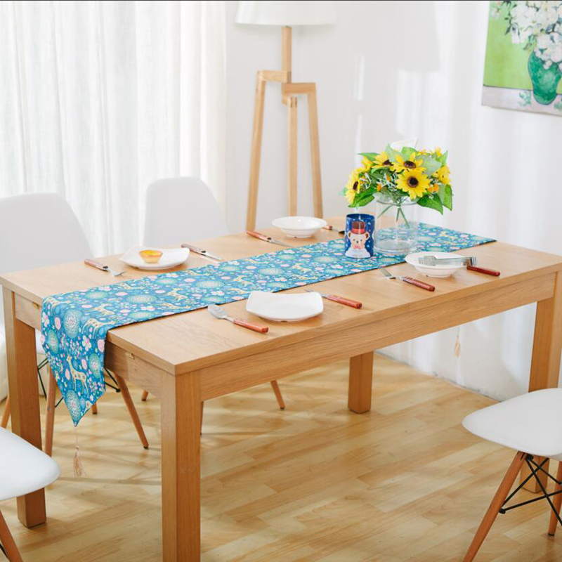 USPIRIT Japanese Table Runners Linen Cotton Modern Style Elegant Table Runners Blue ColorTafelloper With Cartoon Deer(China (Mainland))