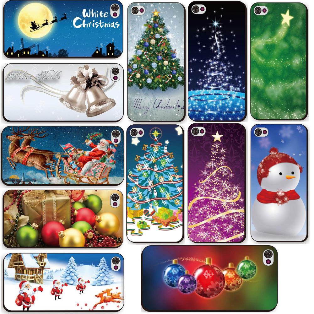 Free ShippingFor iPhone 4 4s Hot Colorful Santa Claus Christmas Tree Decor Printed Phone Back Hard New Year Gift Phone Case(China (Mainland))
