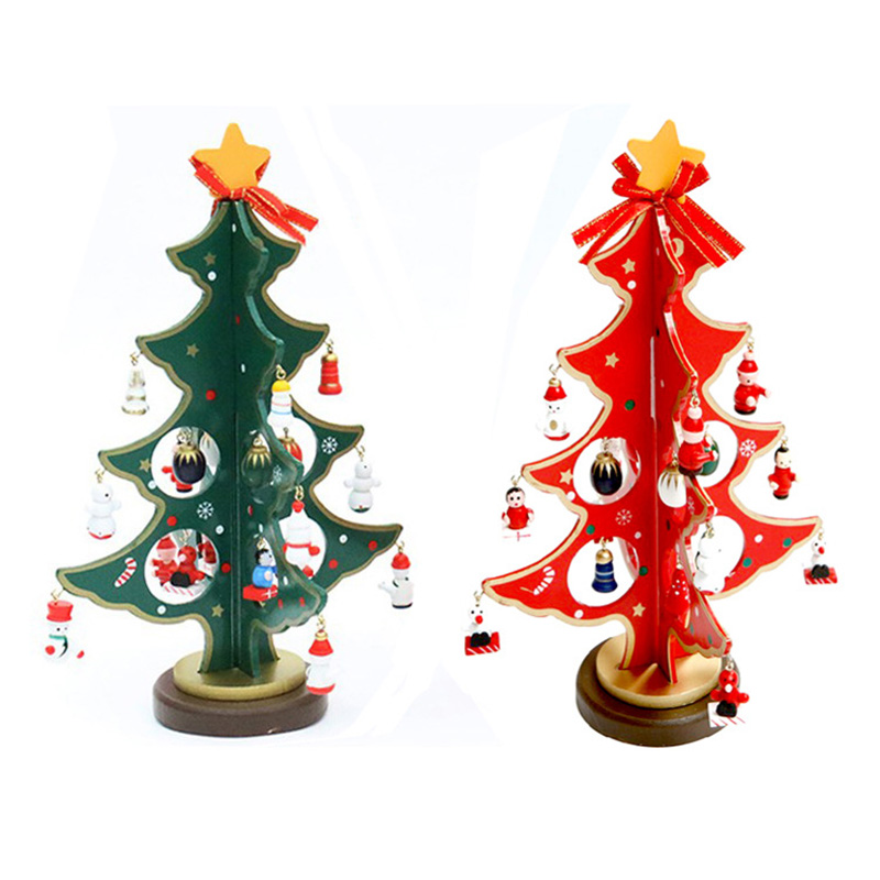 2015 hot wooden tabletop christmas tree with miniature for Small christmas decorations
