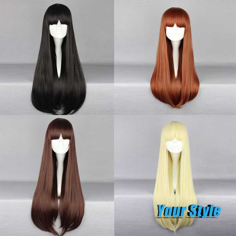 Hot Sale 70cm Harajuku Anime Cosplay Wigs Young Lady Women Girl Long Straight Synthetic Hair Wig Bangs Black /Brown Peruca