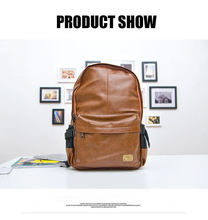 2015 top quality brand fashion black genuine leather men's backpacks preppy style brown women backpack bolsas  P36