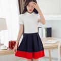 High Waist Short Dress Summer 2016 Women New Chiffon Dress Brand Fashion Above Knee Color Mini