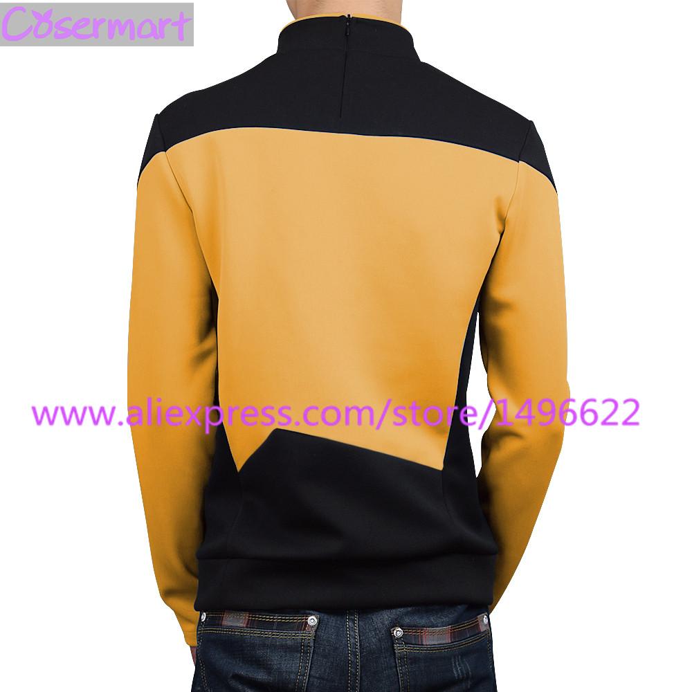 Star Trek TNG The Next Generation Red Yellow Blue Shirt Uniform Cosplay Costume For Men Coat Halloween Party (7)