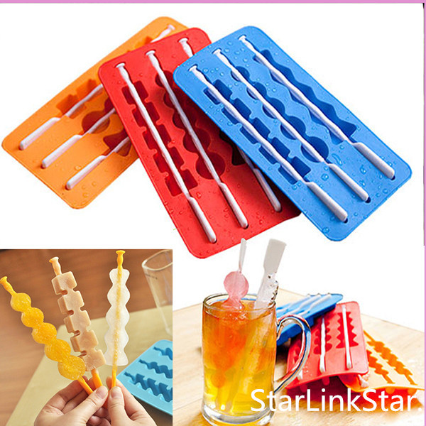 Summer Style 6 Colors Ice Pop Makers Popsicle Molds Silicone Freezer Ice Cream Maker Mold Cooking Tools(China (Mainland))