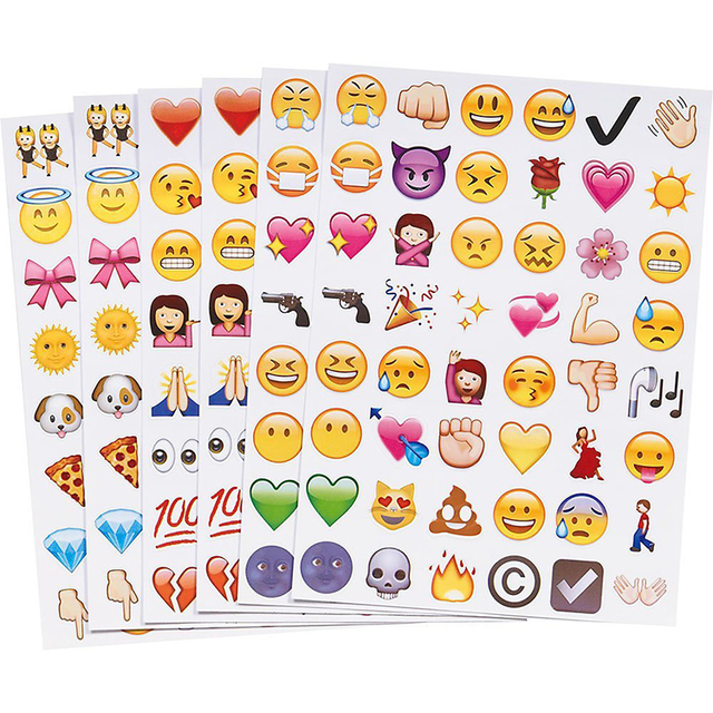 6 sheets(48stickers ) mixed 6 styles  Cute Lovely 48 Die Cut Emoji Smile Sticker For Notebook Message High Vinyl Funny Creative