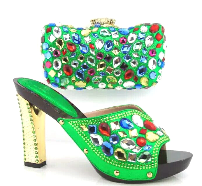 Green Italian Shoes With Matching Bags African Women Sandal Colorful Rhinestones Decoration ...
