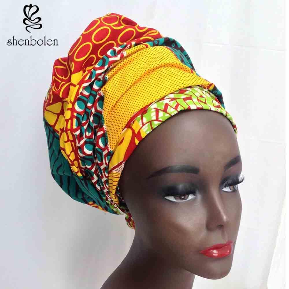 Kente head wrap African head wrap headwrap kerchief ankara dashiki wax batik printing pure cotton tow size 44*34 and 64*13 inch(China (Mainland))