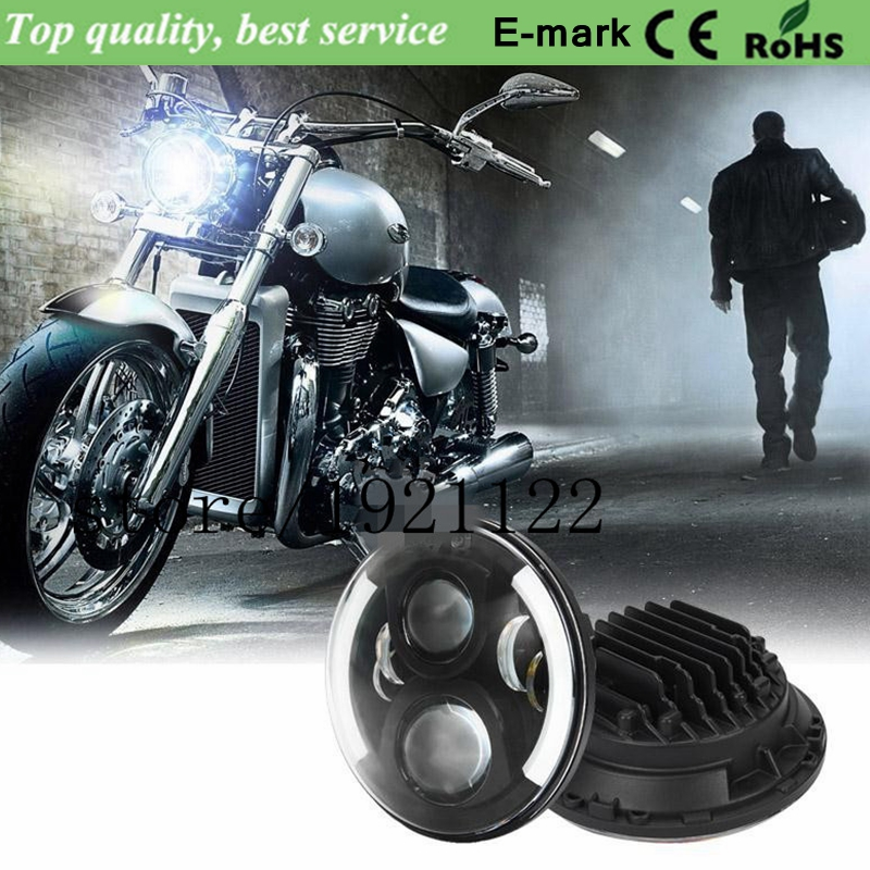 Motorbike Headlight H4 H/L 7 Inches Round Dual-Arc Angel Eyes LED Projector Headlight For Harley With E-Mark & DOT Certification(China (Mainland))