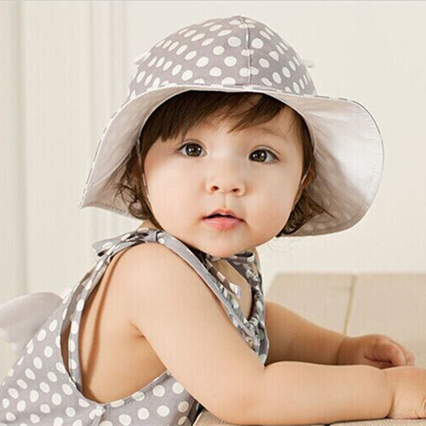 Pretty fresh style round dots baby bucket hat with cute ears Infant boy girl fishing hat Wide brim floppy hat 3 colors 1pc H756(China (Mainland))