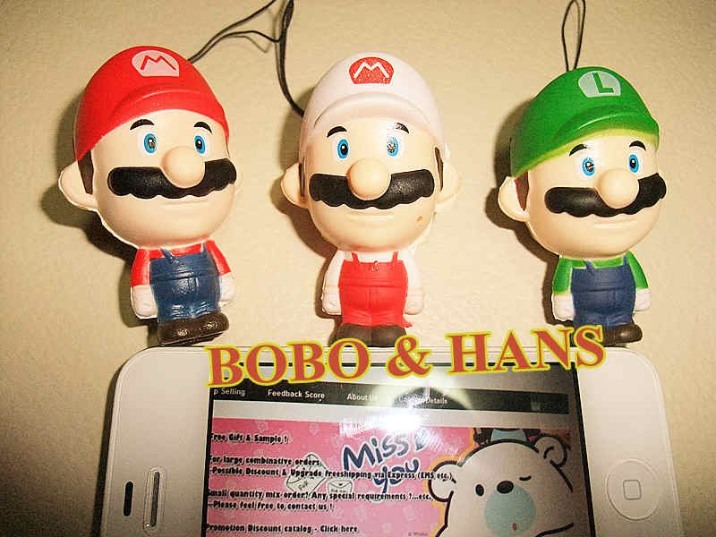New Cute S Mario doll squishy charm / mobile phone strap / Pendant / Wholesale (Only green)(China (Mainland))