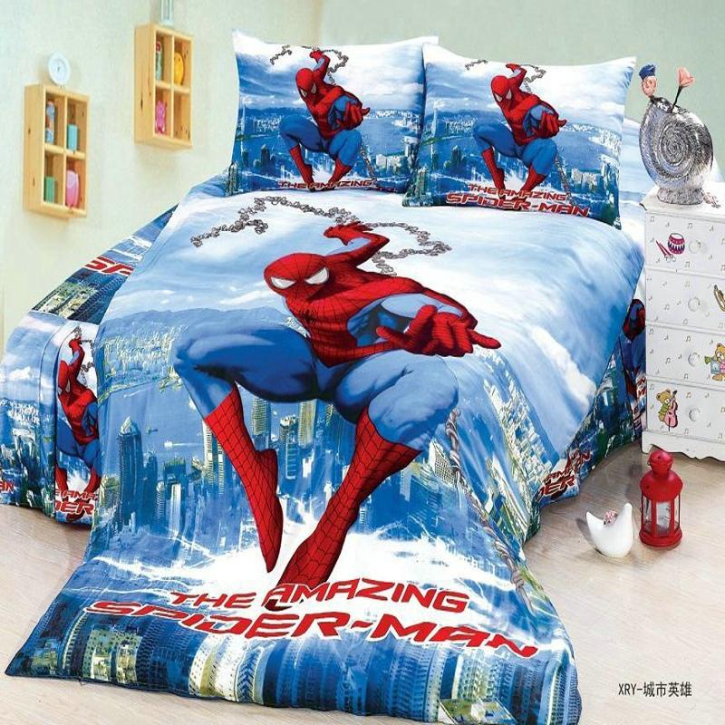 fantastic girls/boys bed linen 2/3 pieces twin single size spiderman 3 duvet cover flat sheet pillow case bedding set/blue(China (Mainland))