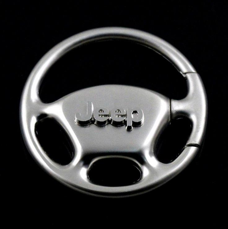 Jeep Wrangler Grille Chrome Steering Wheel Key Fob Authentic Logo Key Chain Key Ring Keychain(China (Mainland))