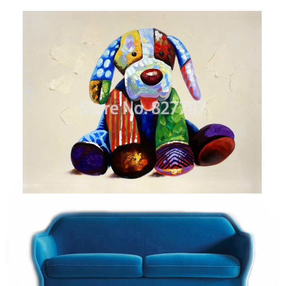 Modern Animal Oil Painting Art on Printed Canvas Decoration Home Wall Picture Colorful Dog for Baby Room(China (Mainland))